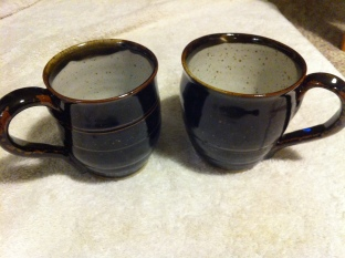 ma 2 dark brown mugs