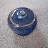 jake pottery blue sugar bowl with lid