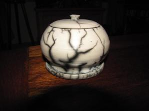 jake pottery sugar bowl raku