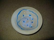 jake pottery white bowl blue swirl