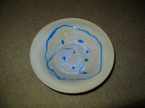 jake pottery white bowl blue swirl