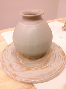 pottery wheel clay vase